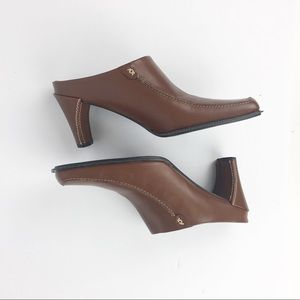 Franco Sarto Brown Leather Mules Heels Shoes 9M